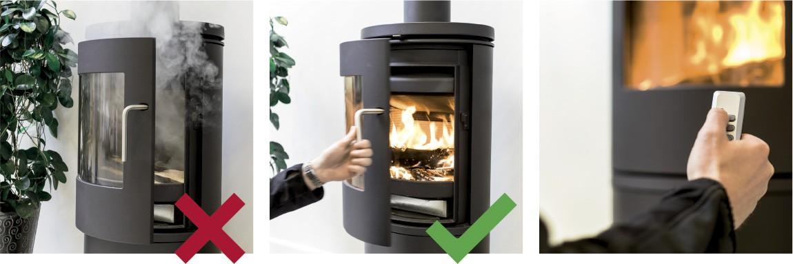 Draftbooster zmniejsza ilość dymu w pomieszczeniu